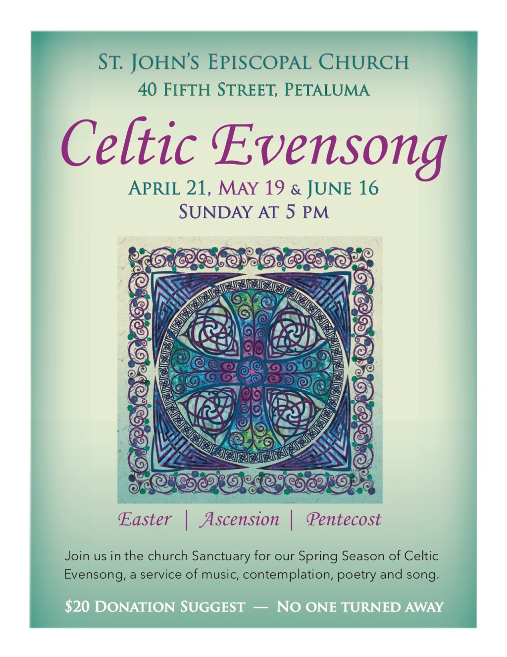 Celtic Evenong 2019-Apr, May, June